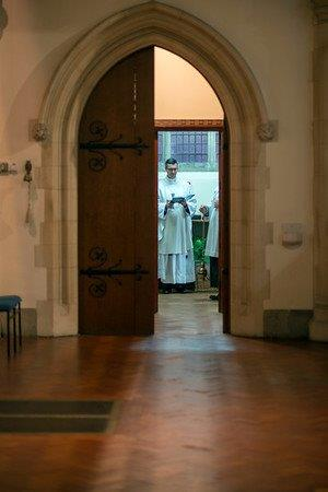 In the sacristy in preparation